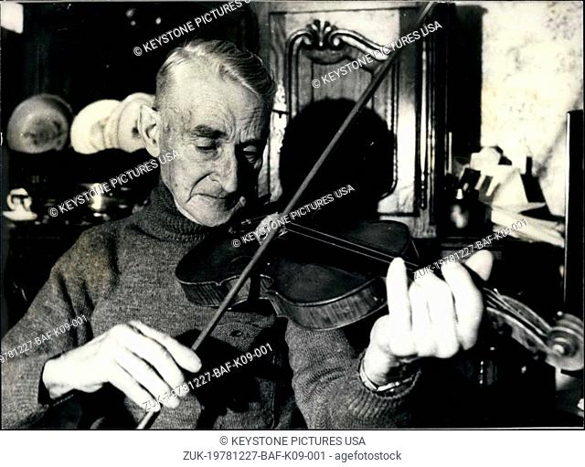 Dec. 27, 1978 - A lumberjack just lived a Christmas story. Passionate about the violin, Peyrichoux, 82-years old, stole his instrument and played it frequently...