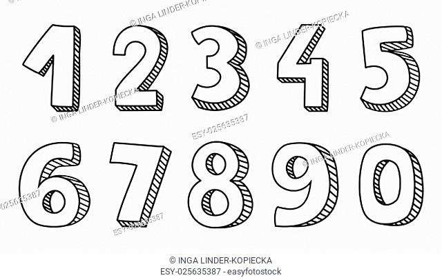 hand drawn vector numbers isolated on white background
