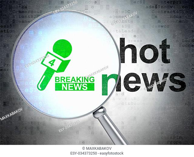 News concept: magnifying optical glass with Breaking News And Microphone icon and Hot News word on digital background