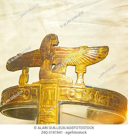 Egypt, Cairo, Egyptian Museum, from the tomb of Yuya and Thuya in Luxor : Gilded bands for Yuya mummy, made of cloth and plaster
