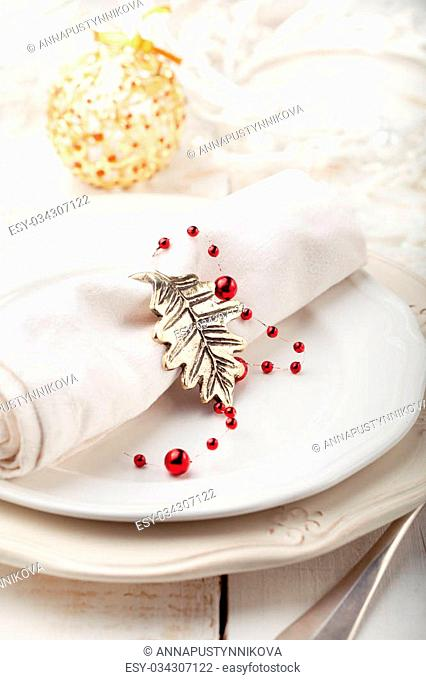Christmas and New year table place setting with christmas decorations