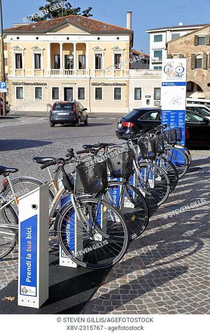 TV Bike station, Treviso, Italy, Veneto