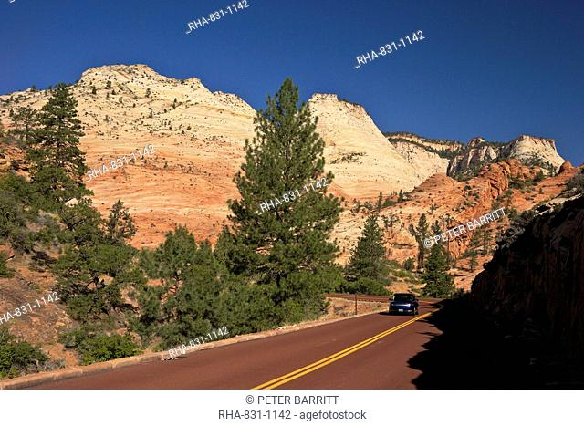 Car travelling on Zion-Mount Carmel Highway, Zion National Park, Utah, United States of America, North America