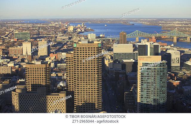 Canada, Quebec, Montreal, skyline, St Lawrence River, Jacques Cartier Bridge,