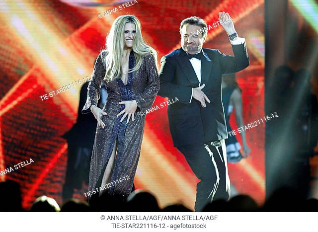 The showgirl Michelle Hunziker with the actor Christian De Sica during a performance at tv programme Zelig, Milan, ITALY-22-11-2016
