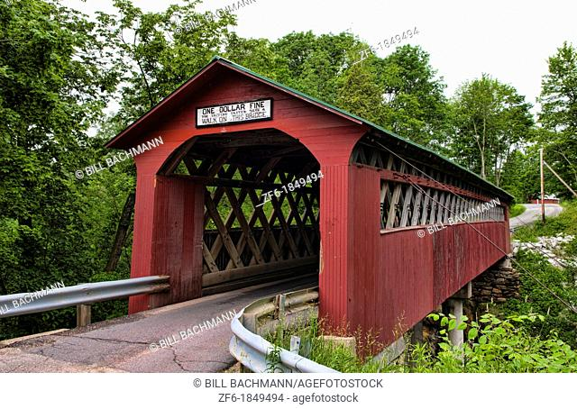 Covered Bridges of Vermont by river One Dollar Fine Chiselville Bridge in Arlington VT 1870 wood wooden red