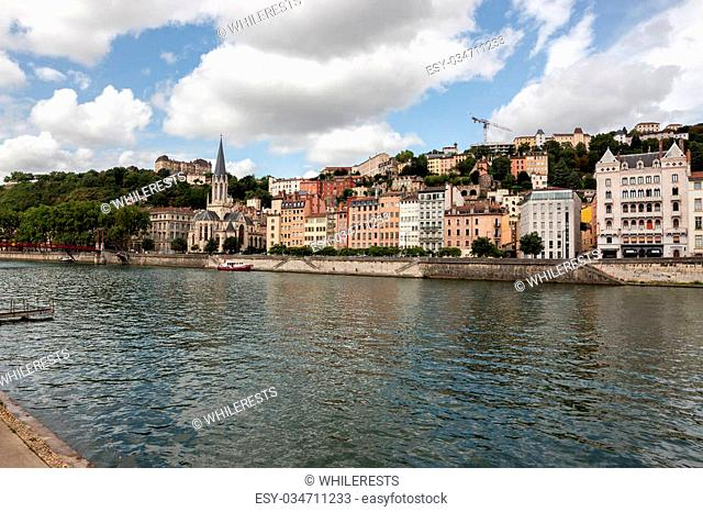 The Saone river in Lyon city. Summer France