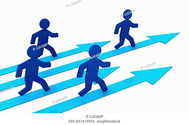 concept image that shows some 3d cartoon people that runs toward the success