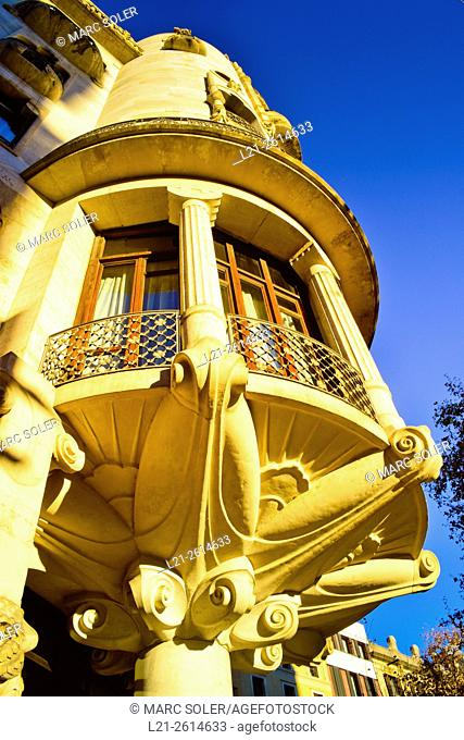 Hotel Casa Fuster Designed by Lluís Domènech i Montaner architect between 1908 and 1910. Gracia quarter, Barcelona, Catalonia, Spain