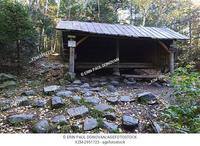 Ethan Pond Shelter located just off the Ethan Pond Trail (Appalachian Trail) in the White Mountains of New Hampshire during the autumn months