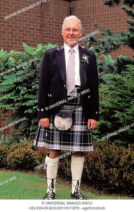Scotland, Portrait Of A Scottish Man Wearing A Kilt