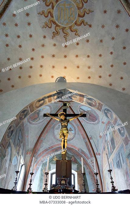 Renaissance frescoes, side chapel in the church of Santa Maria delle Grazie, Bellinzona, Ticino, Switzerland