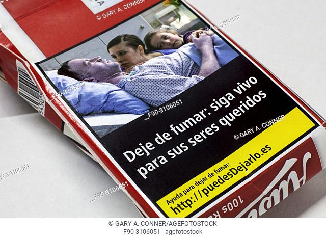 Found cigarette package graphic health warning, Spain