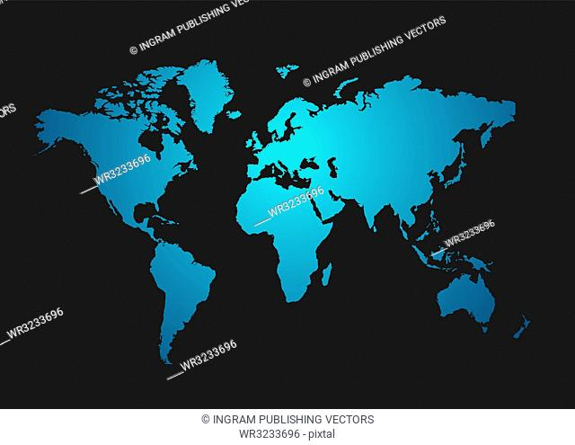 World map in blue with a dark gray background