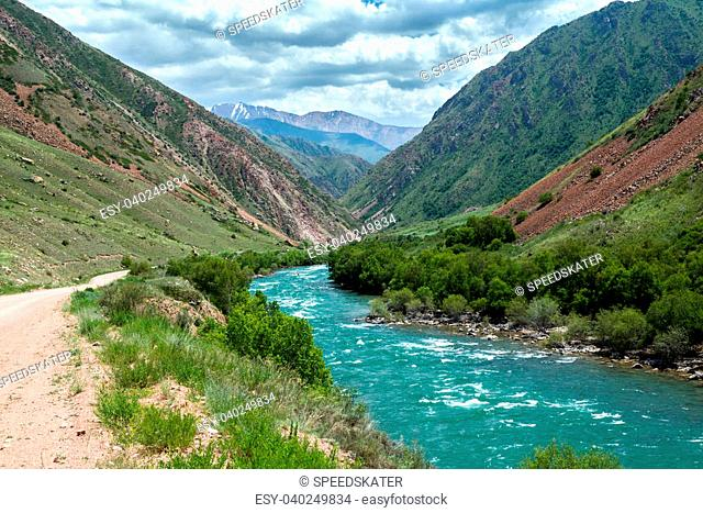 Turquoise river Kekemeren in Tien Shan mountains, Kyrgyzstan