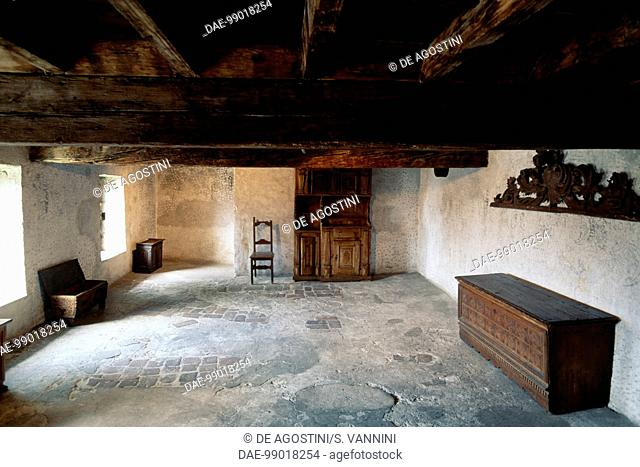 Room with antique furniture, Visconteo Castle, Locarno, Ticino, Switzerland, 13th century