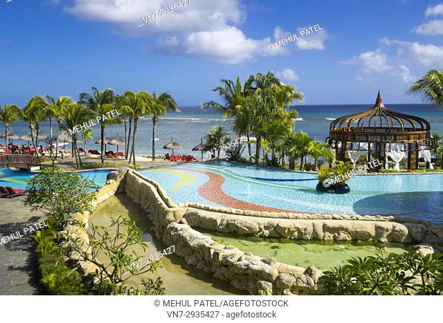 Swimming pools and beachfront of Le Meriden Ile Maurice hotel, Pointe aux Piments, Mauritius