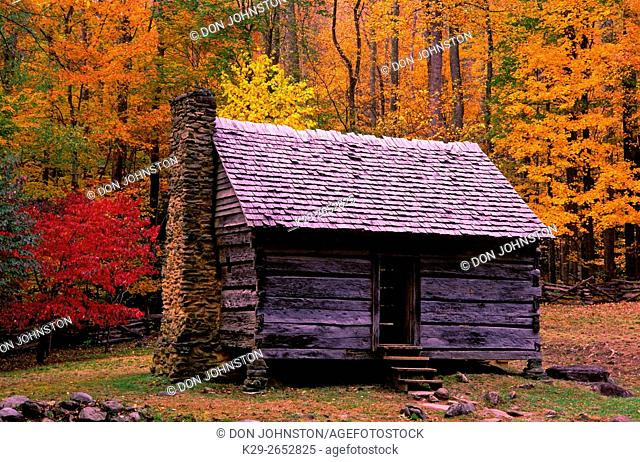 Autumn foliage and Jim Bales cabin, Great Smoky Mountains National Park, Tennessee, USA