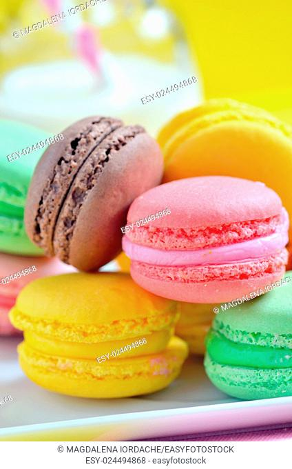 French colorful macarons on plate