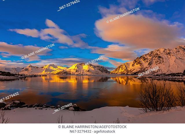 Snow covered coastline, Lofoten Islands, Arctic, Northern Norway