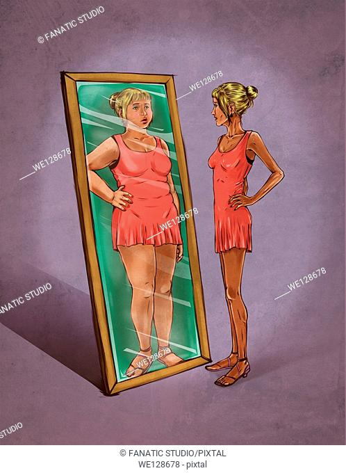 Illustrative image of woman looking in mirror sees herself as overweight representing eating disorder