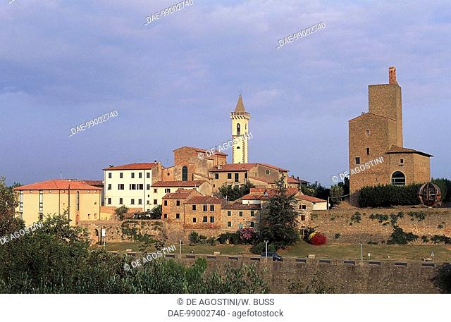 View of Vinci with the Church of St Croce and Guidi castle in the background, Tuscany, Italy
