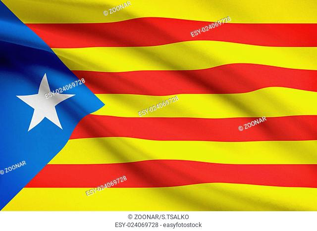 Series of ruffled flags - Catalonia - Estelada