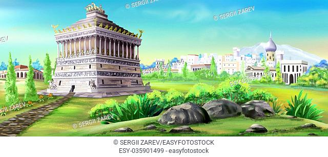 Digital painting of the Mausoleum of Halicarnassus - one of the wonders of the world