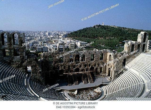 The Odeon of Herodes Atticus, 161-174, Acropolis of Athens (UNESCO World Heritage List, 1987), Greece. Greek and Roman civilisation, 2nd century AD