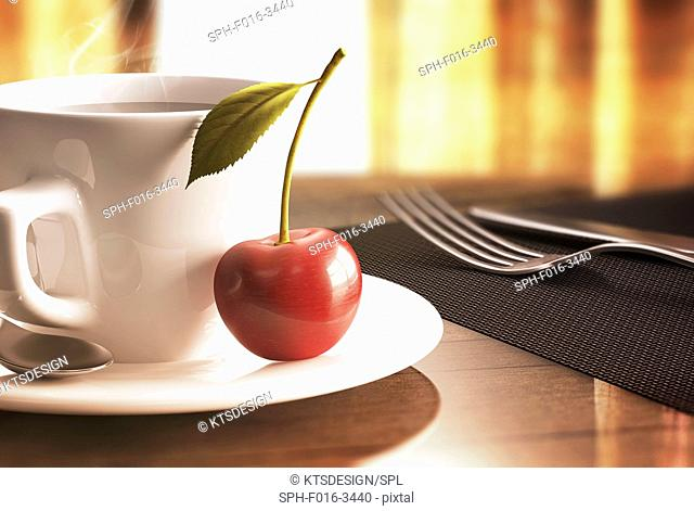 Red cherry on saucer, illustration