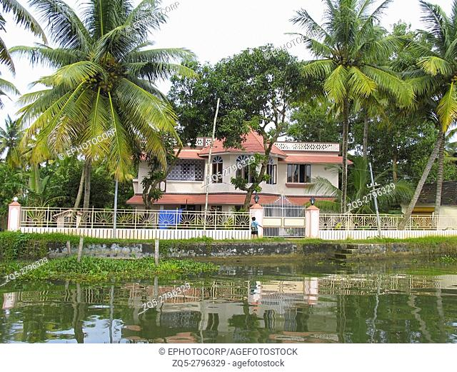 Landscape. House in the back waters of Kerala. India