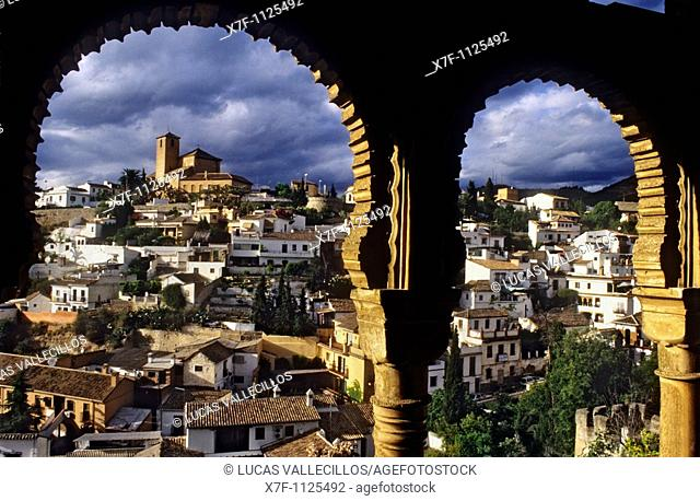 From the Dar Al horra Palace, a view to the Albaicin  Granada  Spain