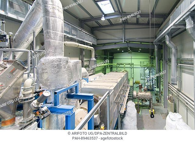 A rotary kiln seen in a facility of Ibu-Tec in Weimar, Germany, 30 March 2017. The company works on powder materials used in electric cars batteries or for...