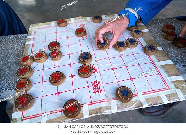 Xiangqi, also called Chinese chessGreen, Lake Park, Kunming, Yunnan, China, Asia