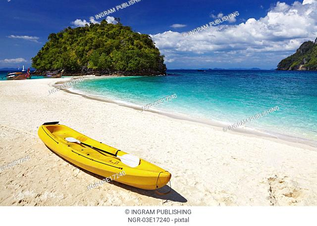 Kayak on the tropical beach, Andaman sea, Thailand