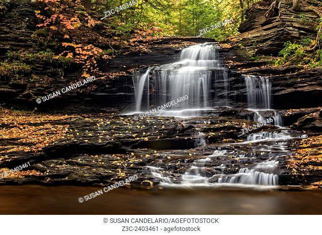 Onondaga Falls surrounded by the colors of fall foliage. This is one of 22 named waterfalls in Glen Leigh trail at Ricketts Glen State Park in Benton
