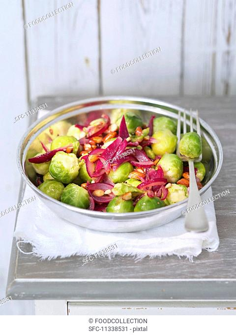 Brussels sprouts with caramelised red onions and almonds
