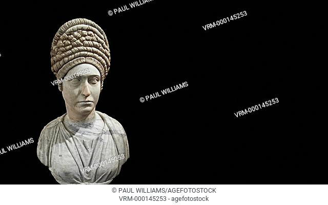 Roman marble sculpture bust of an unkown women, Late Trajan period 98-117 AD , inv 6074, Naples Museum of Archaeology, Italy