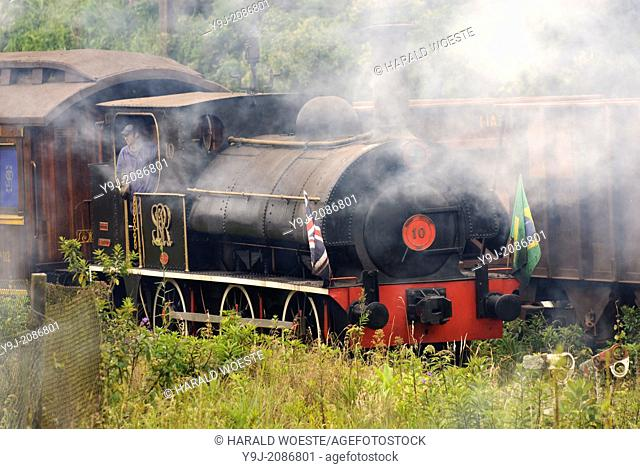 Historic steam train at Paranapiacaba station; near Sao Paulo, Brazil. In 1856 the British-owned Sao Paulo Railway Company was awarded the concession to operate...