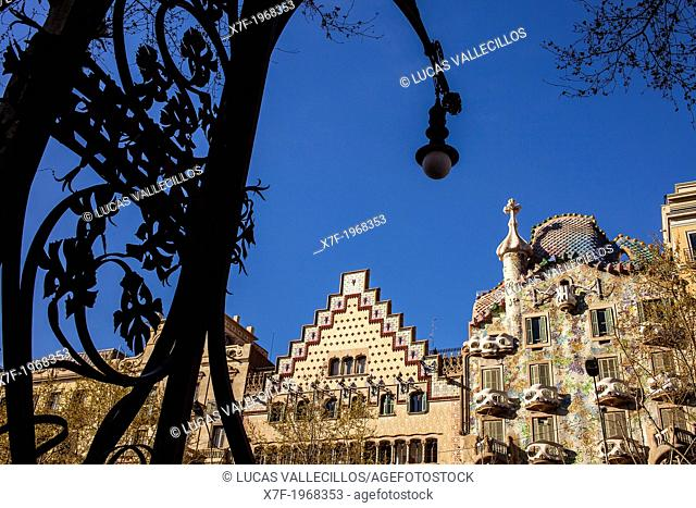 Passeig de Gracia, Amatller House Puig i Cadafalch and Batllo House Gaudi­ both in art nouveau style at the Passeig de Gracia. Barcelona. Spain