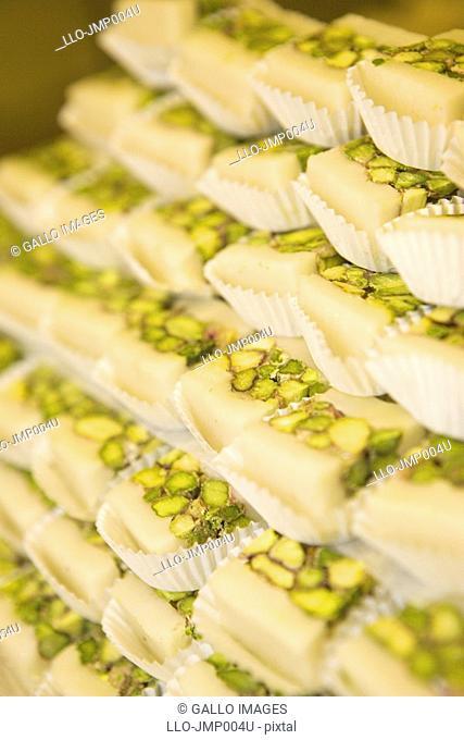 Stack of Arab Pistachio Sweets  Dubai, United Arab Emirates