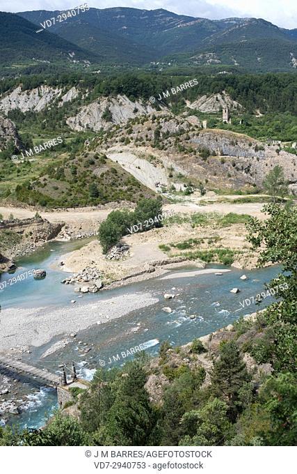 Ara River in Janovas, Fiscal municipality. Sobrarbe, Huesca province, Aragon, Spain