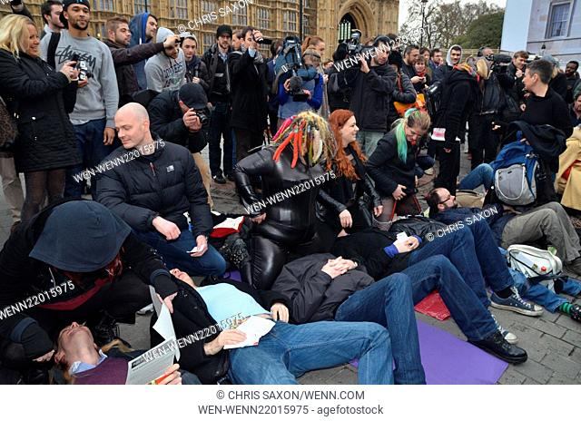 Protesters gather outside Westminster Abbey to rally against the UK's recent ban on certain erotic acts in pornography, such as face-sitting, physical restraint