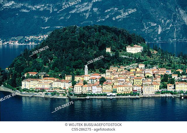 Aerial view of Bellagio and Lake Colo. Lombardy, Italy