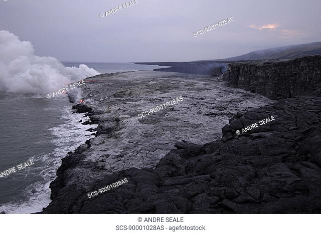 Lava flowing into the Pacific Ocean, Volcanoes National Park, Big Island, Hawaii
