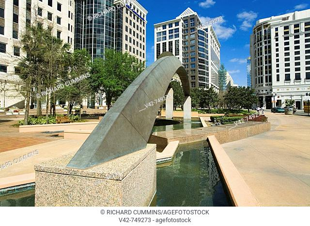 Fountain, City Hall Plaza, Orlando, Florida, USA