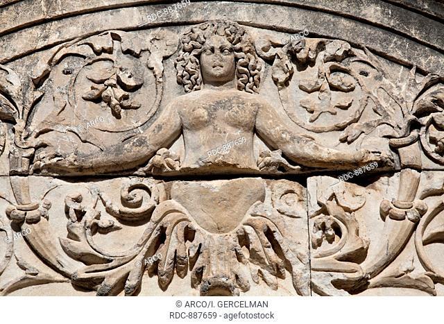 Medus detail of Hadrian's Temple, Ephesus, Izmir, Turkey