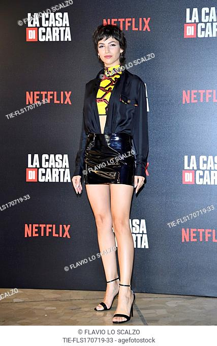 Ursula Corbero during photocall for the presentation of Spanish TV show 'La Casa de Papel' in Milan, Italy, 17 July 2019