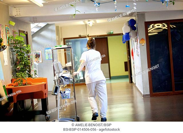 Reportage in a state nursing home in Haute-Savoie, France. A nurse visits the residents in their room each morning