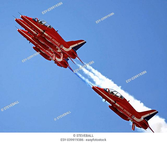 The Red Arrows flying in formation at Swansea air show. July 13th, 2013
